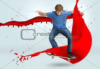 Skateboarder mid ollie