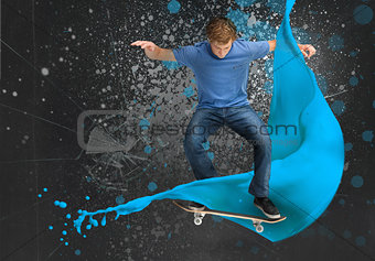 Young skateboarder doing an ollie trick