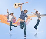 Three of the same young man jumping for joy one holding a guitar