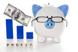 Piggy bank wearing glasses with profit message