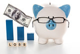 Blue and white piggy bank wearing glasses with loss message