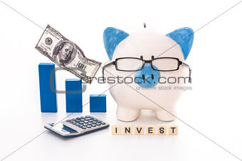 Blue and white piggy bank wearing glasses with invest message
