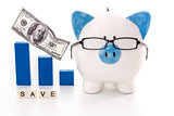 Piggy bank wearing glasses with save message