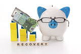 Piggy bank wearing glasses with recovery message