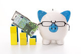 Piggy bank wearing glasses with blue and yellow graph models