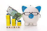 Piggy bank wearing glasses with crisis message