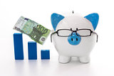 Piggy bank wearing glasses with blue graph model and hundred euro note