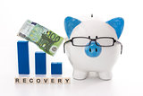 Piggy bank wearing glasses with blue graph model and recovery message