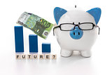 Blue and white piggy bank wearing glasses with future question