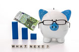 Blue and white piggy bank wearing glasses with what next question