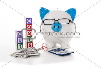 Blue and white piggy bank wearing glasses with cut costs blocks