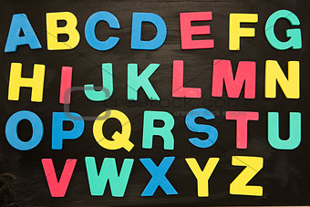 Alphabet magnets stuck on blackboard