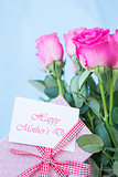 Bouquet of pink roses in vase with pink gift and mothers day message