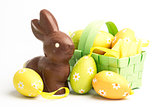 Easter eggs in a basket with chocolate bunny