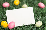Blank greeting card with easter eggs