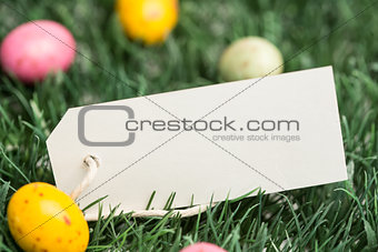 Blank tag with easter eggs