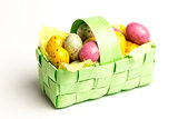 Speckled colourful easter eggs in a basket