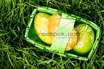 Three easter eggs in a basket