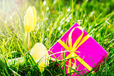 Pink gift with easter egg and yellow tulip