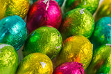 Colourful easter eggs overhead