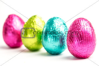 Four easter eggs in a row