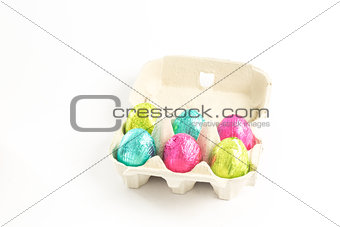 Carton of easter eggs