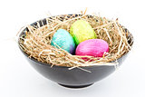 Foil easter eggs in a bowl