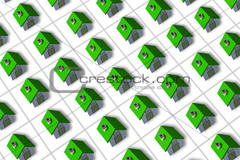 Green roofed 3d houses