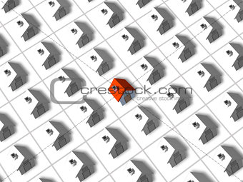 One red roofed 3d house surrounded by many