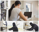 Collage of burglar activity