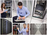 Collage of data center workers