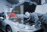 Mechanic with open hood consulting interface in black and white