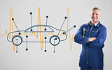 Mechanic standing in front of a background with car