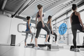 Rear view of women doing exercise with blue futuristic interface