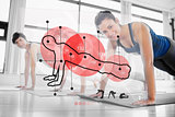 Women using red interface at the gym