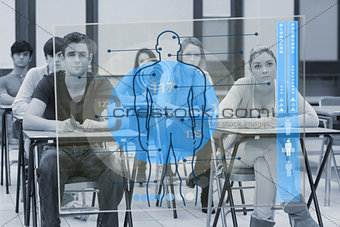 Classmates concentrated on futuristic interface with body