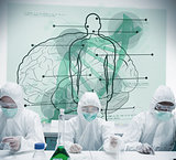 Chemists working in protective suit with futuristic interface showing scientific diagrams