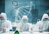 Chemists working in protective suit with futuristic interface showing DNA
