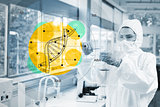 Scientist in protective suit working with dna diagram interface
