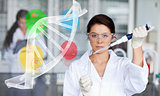 Serious chemist working with human dna helix interface
