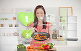 Woman preparing dinner using futuristic interface