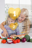 Mother and daughter chopping vegetables with yellow holographic interface