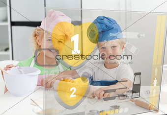 Siblings baking with hologram interface