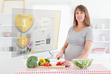 Pregnant woman making dinner using hologram interface