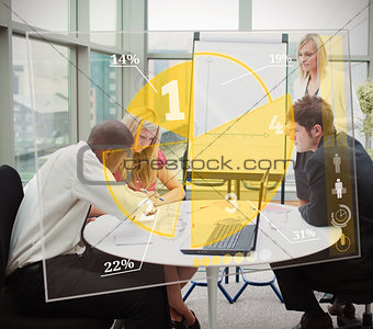 Business people using yellow pie chart interface