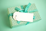 Green gift wrapped box with blank tag