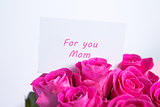 Bouquet of pink roses with mothers day message