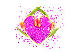 Four tulips in a heart shape with confetti