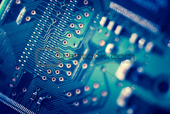Close up of blue Printed Circuit Board