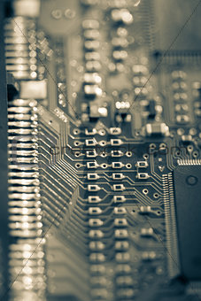 Close up of grey PCB